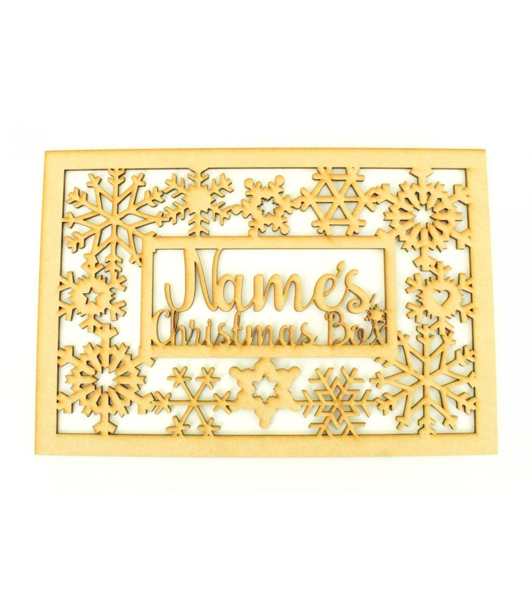 Laser Cut Personalised 'Christmas Box' Large Christmas Box Frame Top with  Snowflake Shapes