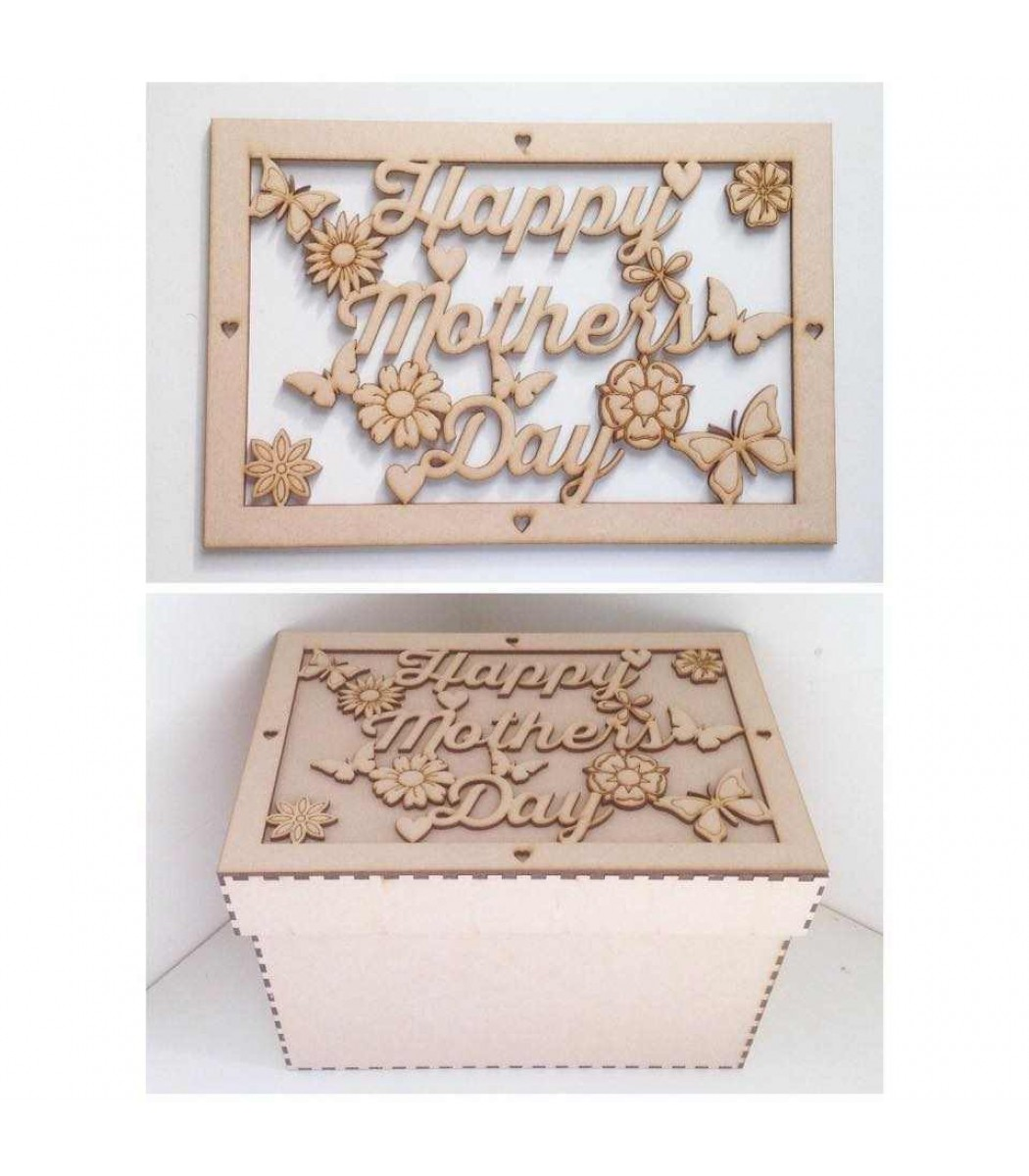 Laser Cut Happy Mothers Day Gift Box Large Box Frame Top